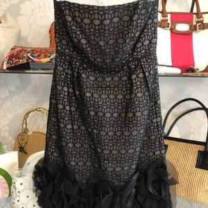 MILLY Black/Nude Strapless Sheer Black Lace Dress